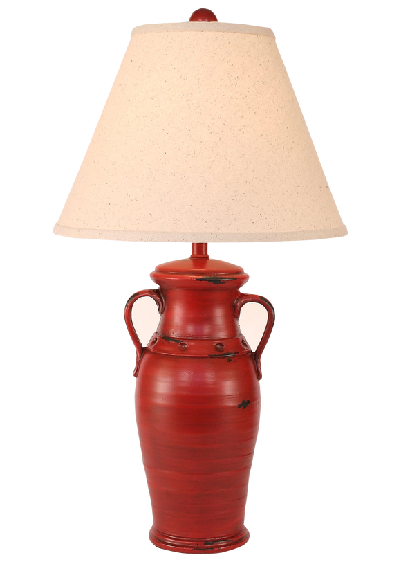 Distressed Brick Red 2 Handled Vase Table Lamp - Coast Lamp Shop