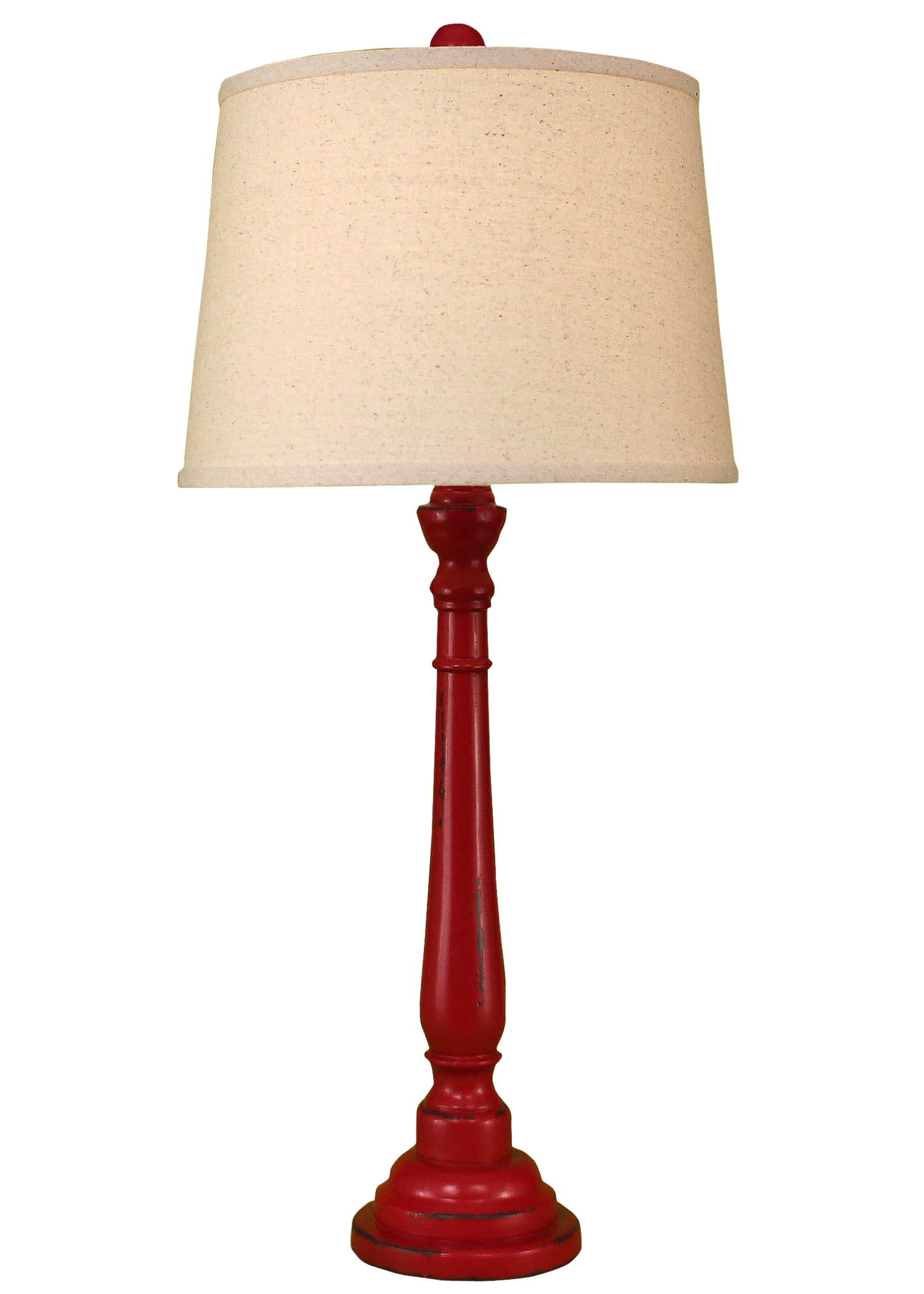 Distressed Brick Red Round Buffet Lamp - Coast Lamp Shop