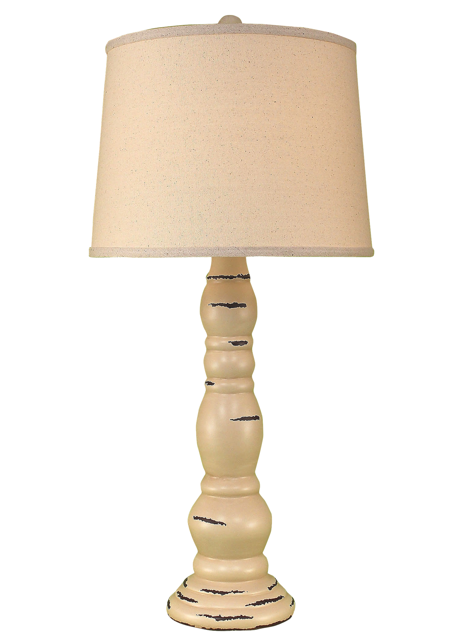 Distressed Cottage Ringed Candlestick Table Lamp - Coast Lamp Shop
