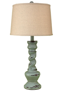 Distressed Atlantic Grey Country Twist Table Lamp - Coast Lamp Shop