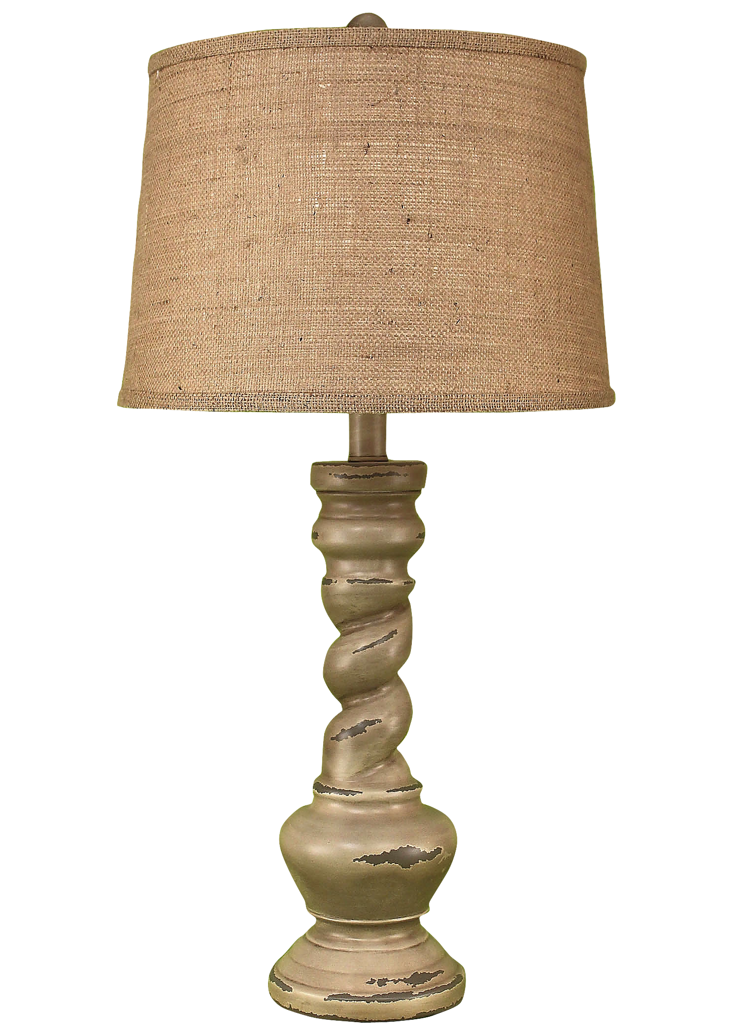 Distressed Grey Country Twist Table Lamp - Coast Lamp Shop
