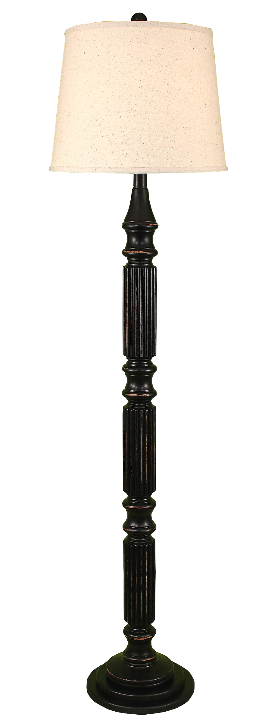 Distressed Black Ribbed Floor Lamp - Coast Lamp Shop