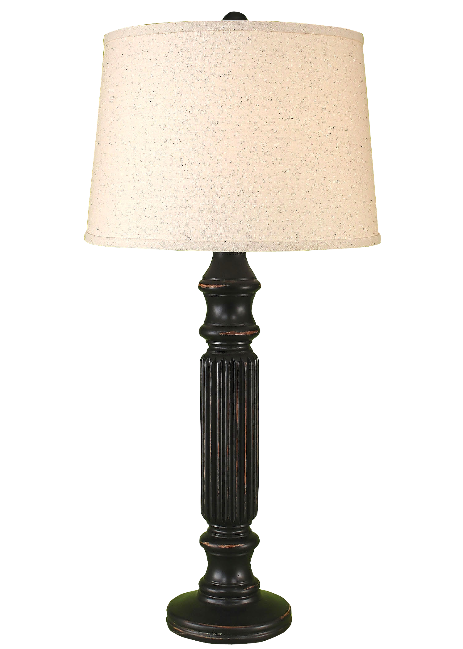 Distressed Black Ribbed Table Lamp - Coast Lamp Shop