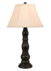 Distressed Black Ringed Candlestick Table Lamp - Coast Lamp Shop