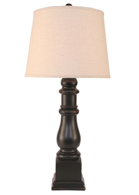 Distressed Black Country Squire Table Lamp - Coast Lamp Shop