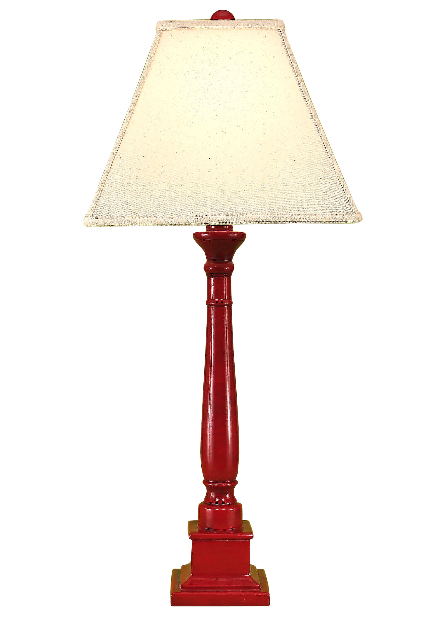 Glazed Brick Red Square Candlestick Table Lamp - Coast Lamp Shop