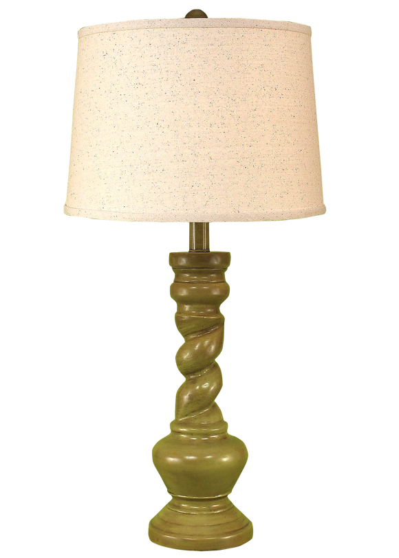 Glazed Lime Country Twist Table Lamp - Coast Lamp Shop