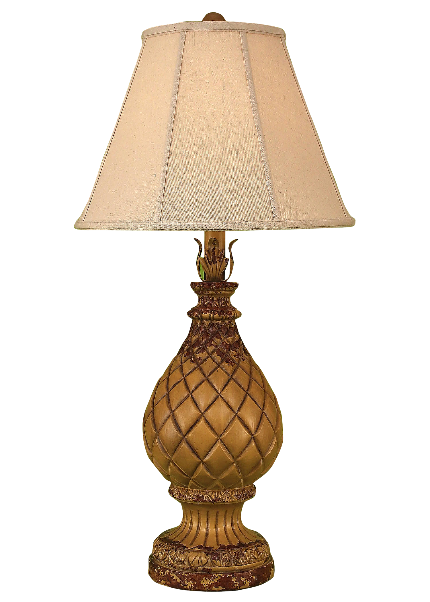 Aged Yellow Gold Regal Pineapple Table Lamp - Coast Lamp Shop