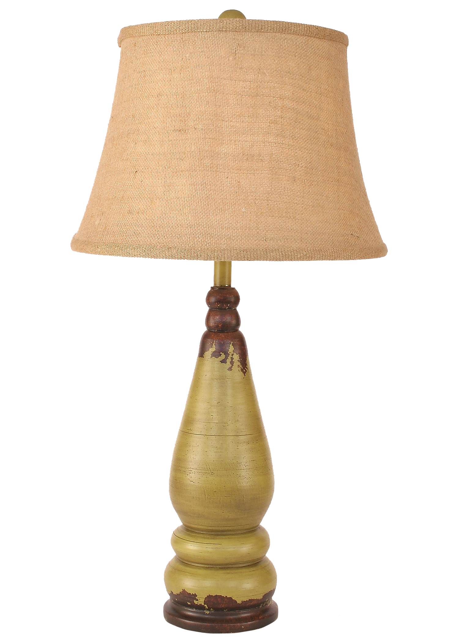 Aged Lime Tapered Spool Table Lamp - Coast Lamp Shop