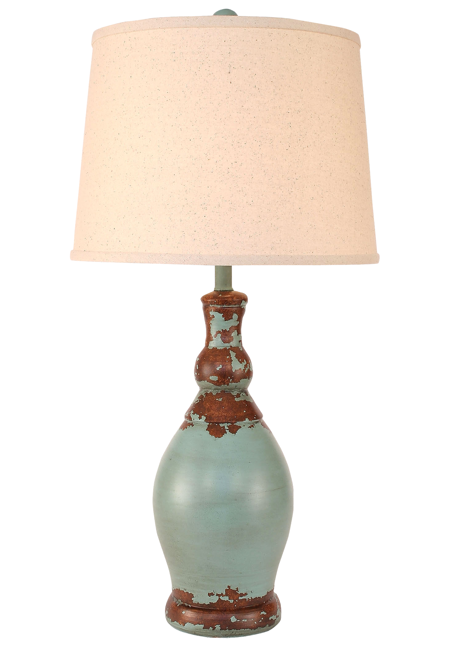 Aged Turquoise Sea Slender Neck Casual Table Lamp - Coast Lamp Shop