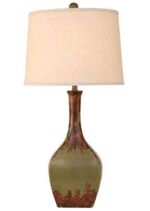 Aged Olive Oval Genie Table Lamp - Coast Lamp Shop