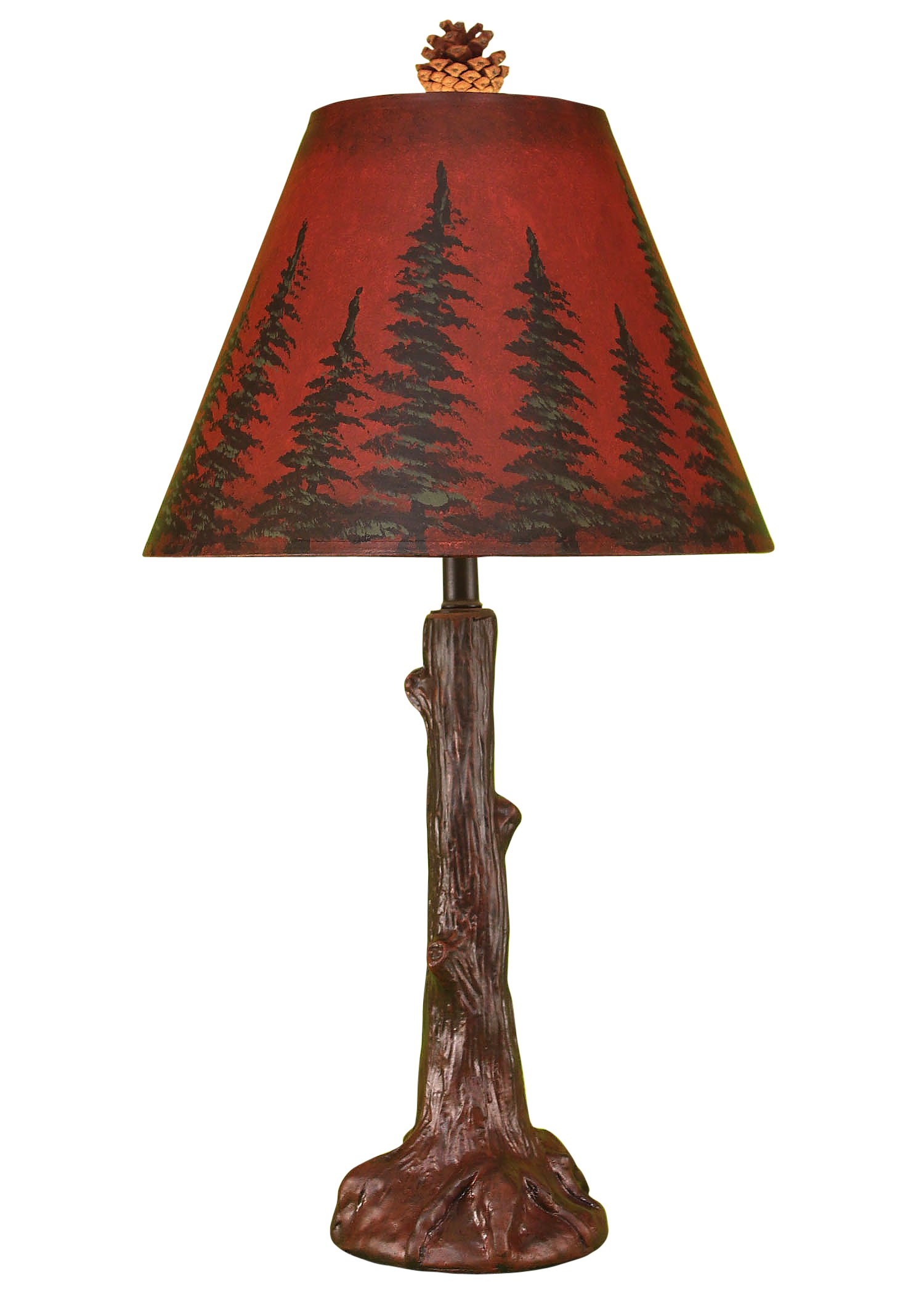 Burnt Red Tree Trunk Table Lamp - Coast Lamp Shop