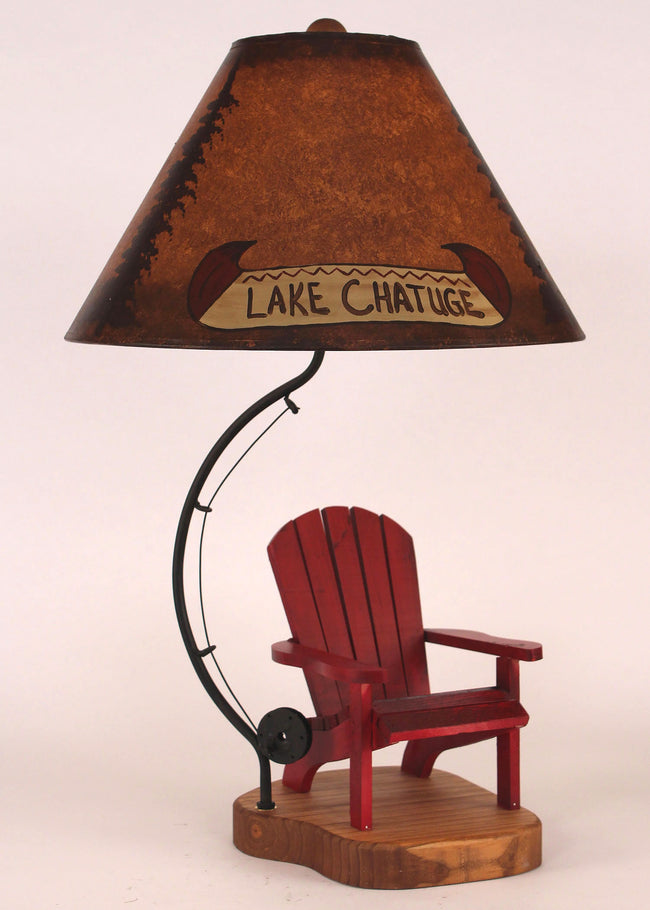 Stain/Red Lake Side Chair Table Lamp - Coast Lamp Shop