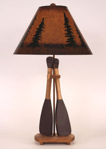 Stain/Red 2 Paddle Table Lamp w/ Canoe and Trees Shade - Coast Lamp Shop