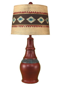 Rio/Jade Casual Table Lamp w/ Ribbed Accent- South Western Shade - Coast Lamp Shop