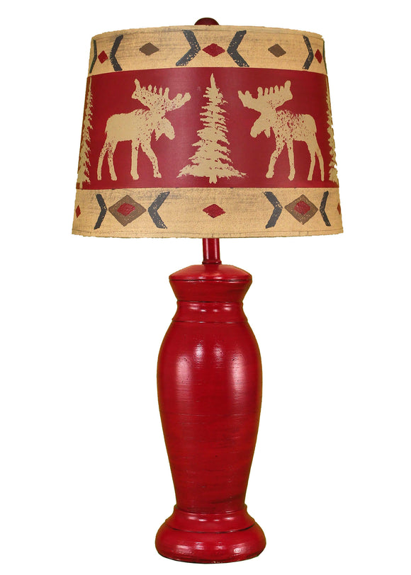 Brick Red Table Lamp w/ Moose Shade - Coast Lamp Shop