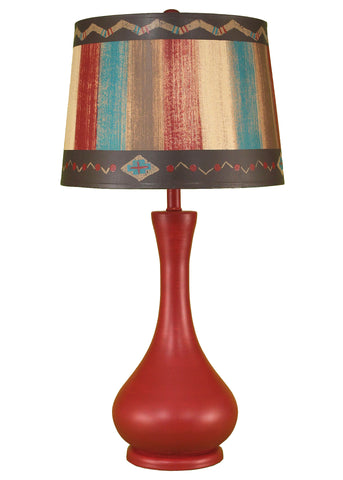 Rio/Jade Casual Table Lamp w/ Ribbed Accent- South Western Shade