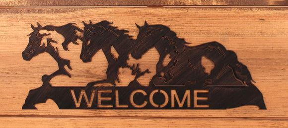 Iron Horses Welcome Sign - Coast Lamp Shop
