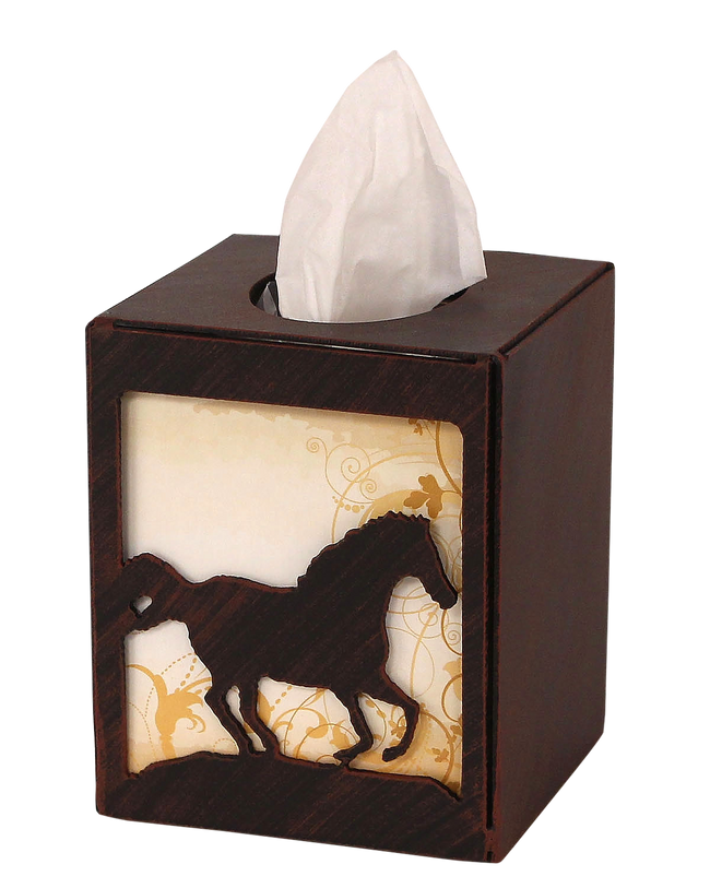 Iron Running Horse Square Tissue Box Cover - Coast Lamp Shop