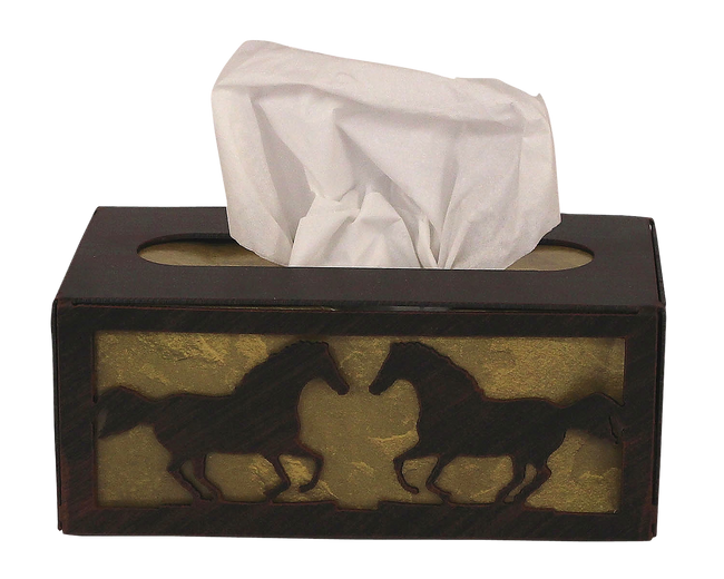 Iron Running Horse Rectangle Tissue Box Cover - Coast Lamp Shop