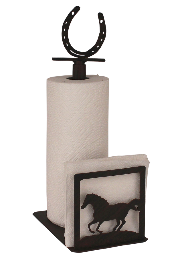 Iron Running Horse/Horse Shoe Paper Towel and Napkin Holder - Coast Lamp Shop