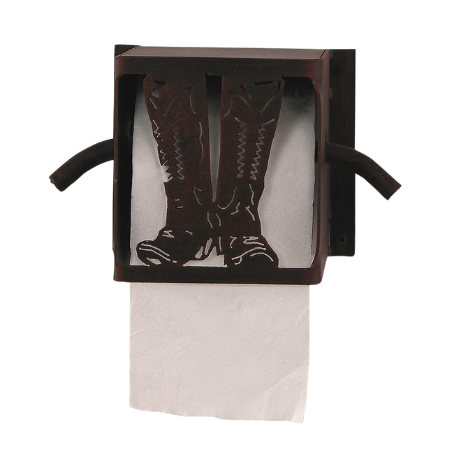 Iron Cowboy Boots Toilet Paper Box - Coast Lamp Shop