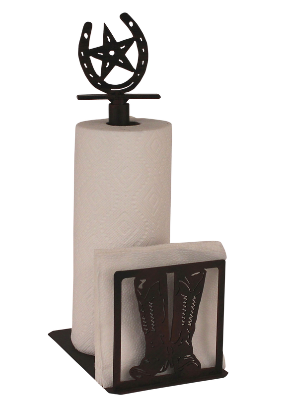 Iron Cowboy Boots/Horse Shoe Paper Towel and Napkin Holder - Coast Lamp Shop