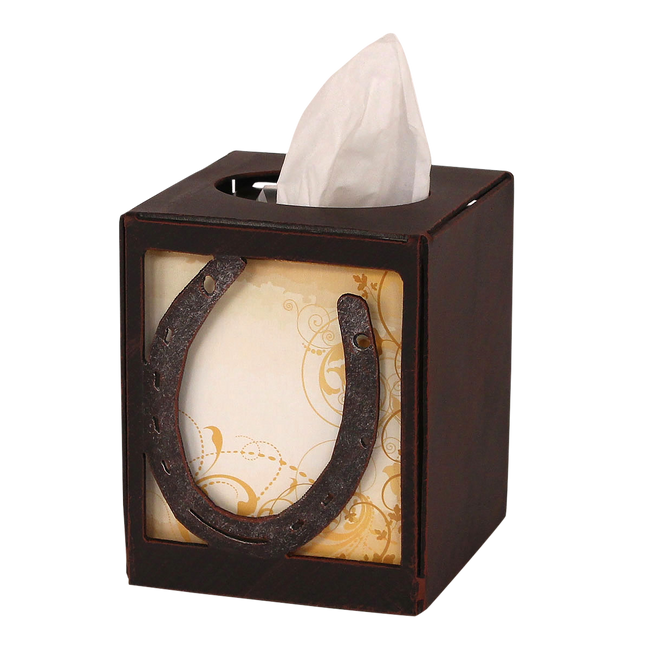Iron Horseshoe Square Tissue Box Cover - Coast Lamp Shop