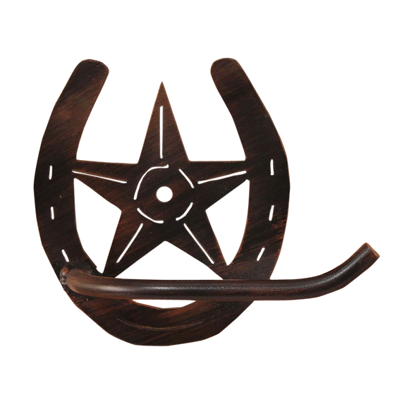 Iron Horseshoe/Star Arm Toilet Paper Holder - Coast Lamp Shop