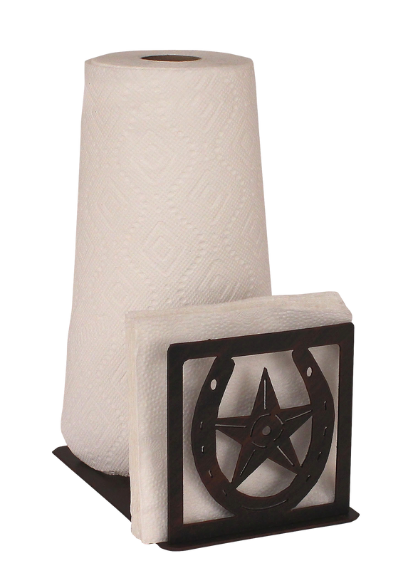 Iron Horseshoe/Star Paper Towel and Napkin Holder - Coast Lamp Shop