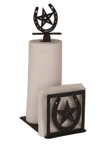 Iron Horseshoe/Star Short Paper Towel and Napkin Holder - Coast Lamp Shop