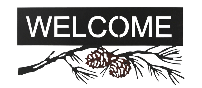 Iron Pine Cone Branch Welcome Sign - Coast Lamp Shop