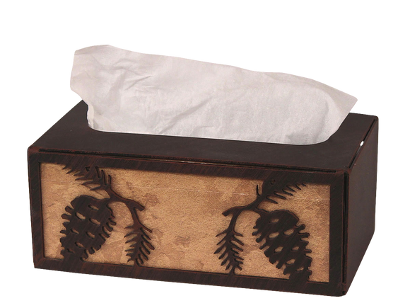 Iron Pine Cone Rectangle Tissue Box Cover - Coast Lamp Shop