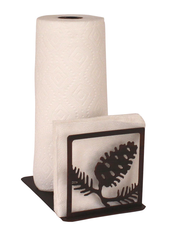 Iron Pine Cone Short Paper Towel and Napkin Holder - Coast Lamp Shop
