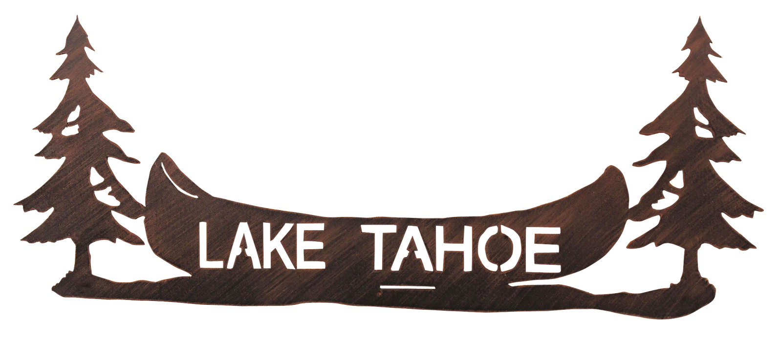 "36"" Iron Pine Tree and Canoe Personalized Sign - Coast Lamp Shop"