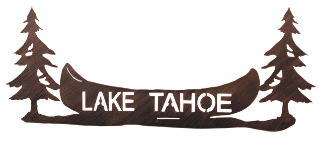 "24"" Iron Pine Tree and Canoe Personalized Sign - Coast Lamp Shop"