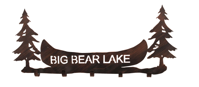 "24"" Iron Pine Tree and Canoe Personalized Coat Rack - Coast Lamp Shop"