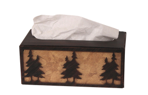 Iron Double Pine Tree Rectangle Tissue Box Cover - Coast Lamp Shop
