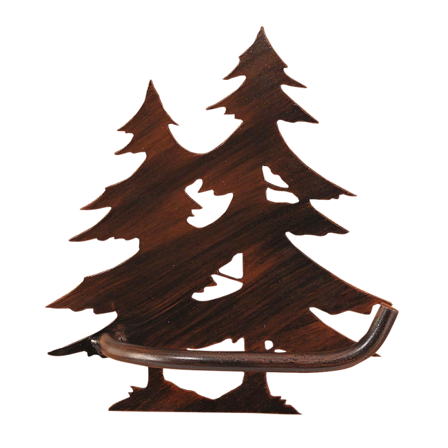 Iron Double Pine Tree Arm Toilet Paper Holder - Coast Lamp Shop