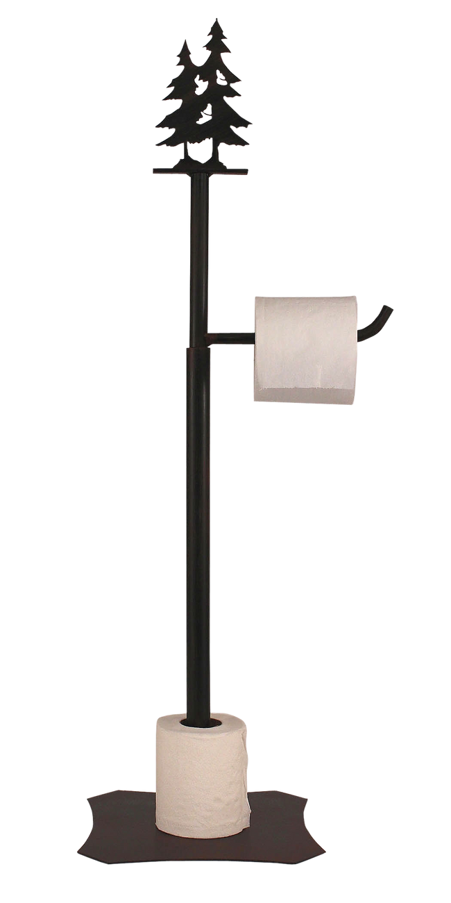 Iron Double Pine Tree Toilet Paper Stand - Coast Lamp Shop