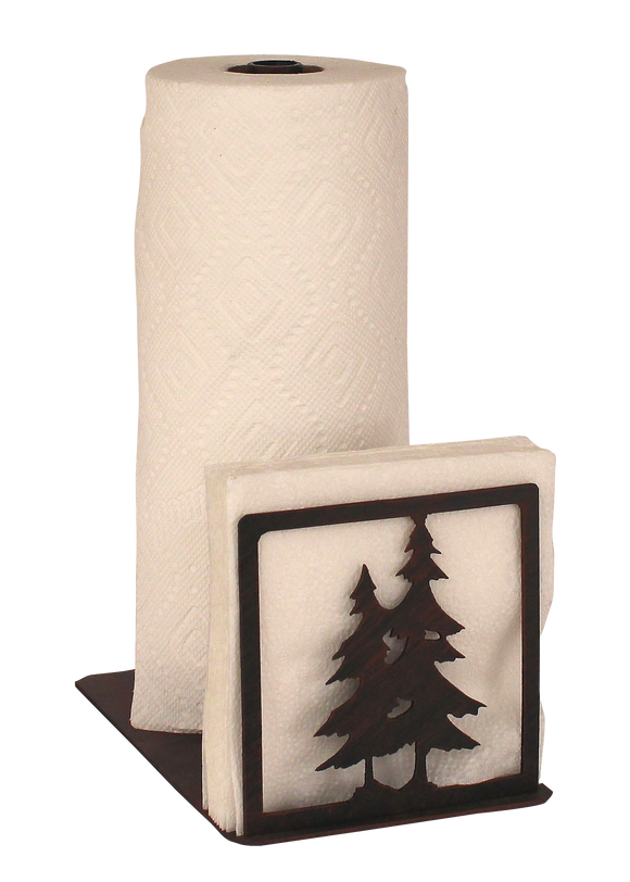 Iron Double Pine Tree Short Paper Towel and Napkin Holder - Coast Lamp Shop