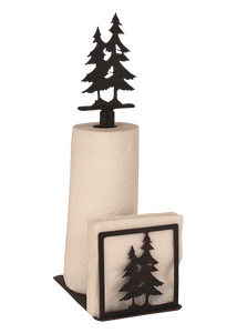 Iron Double Pine Tree Paper Towel and Napkin Holder - Coast Lamp Shop