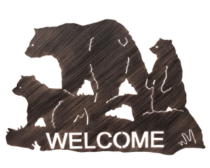 Iron Bear Family Welcome Sign - Coast Lamp Shop