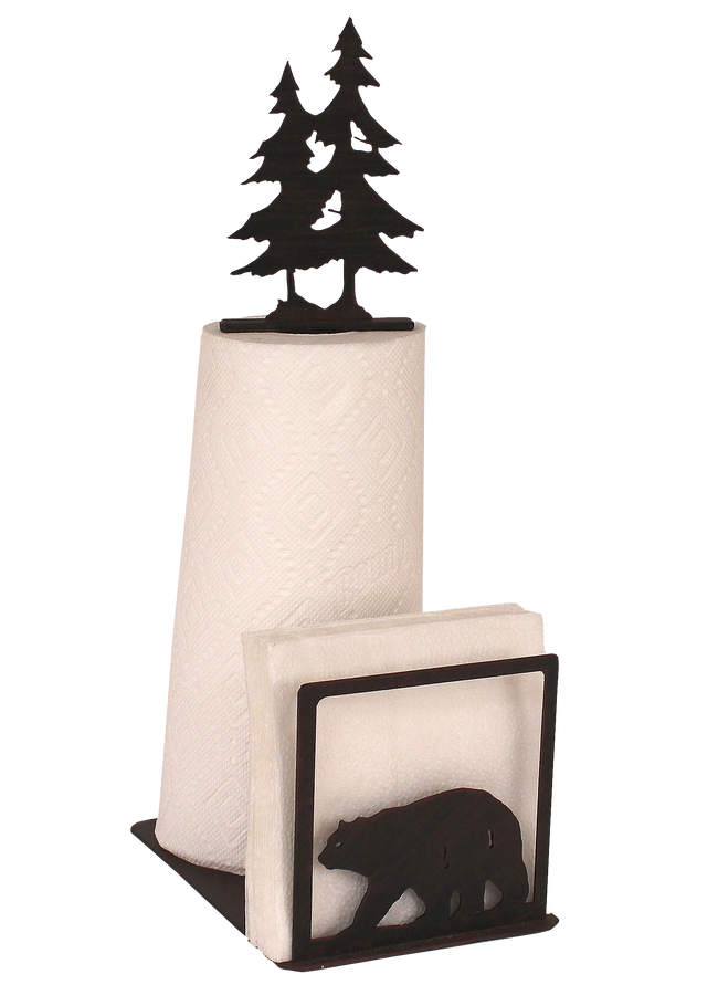 Iron Bear and Tree Paper Towel and Napkin Holder - Coast Lamp Shop