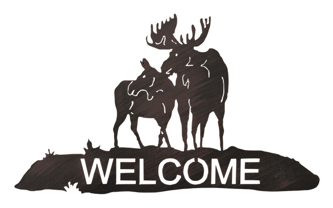 Iron Moose Welcome Sign - Coast Lamp Shop