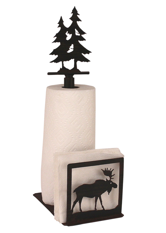 Iron Moose/Tree Paper Towel and Napkin Holder - Coast Lamp Shop