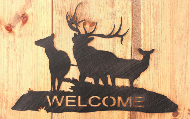 Iron Elk Family Welcome Sign - Coast Lamp Shop