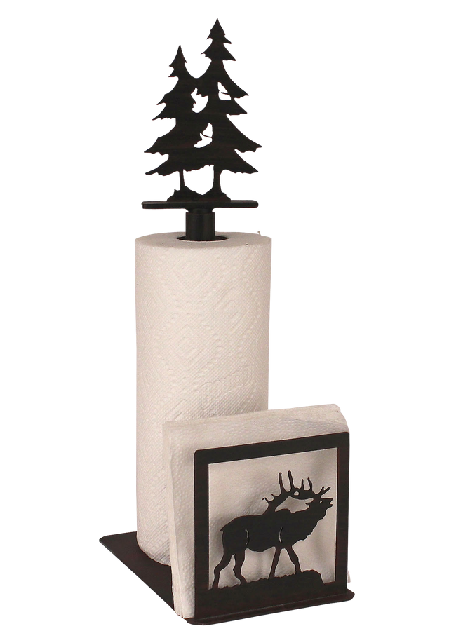 Iron Elk/Tree Paper Towel and Napkin Holder - Coast Lamp Shop