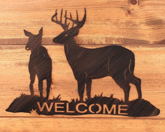 Iron Deer Welcome Sign - Coast Lamp Shop