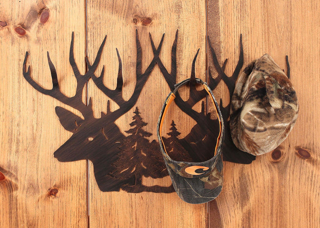 Iron Deer Head Scene Hat Rack - Coast Lamp Shop